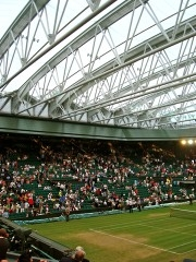 Another view of the roof closed over Centre Court as an experiment.