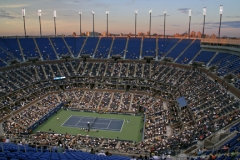 Arthur Ashe Stadium at twilight