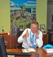 CEO of Tennis Australia, Steve Wood, in his office