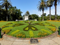 Flower clock is back in business after a hiatus due to drought.  Clock was donated to city in 1966 by Swiss watchmakers.