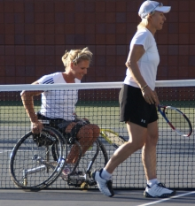 Martina and Esther after hitting balls at the US Open
