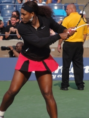 Serena warming up