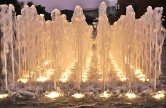 Night time dancing fountains in the South Plaza at the US Open