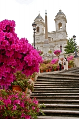 Marvelous Spanish Steps with Mother's Day display of azaleas