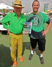 St. Patrick's Day at Indian Wells with fan, Damien, in green Red Sox attire.