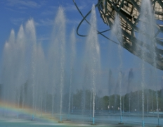 Unisphere fountain with rainbow