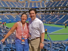 Friends, Cheryl and Kurt Sommer, from Santa Fe, NM at Arthur Ashe Stadium on Opening Day