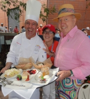 Head chef of all food services at the US Open, Jim Abbey with Bud and Bloomberg radio's Kathleen Hayes