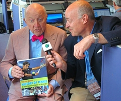 Bud plugging his new book, The Bud Collins History of Tennis, on a blog with Italian, Ubaldo Scanagata