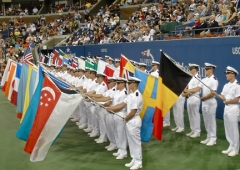 Opening night parade of flags of participants in the US Open