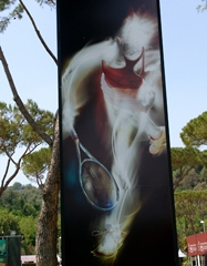 The artwork at the Italian Open this year was beautiful images of players....