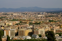 Rome at our feet.... our view of the City Eternal from the marvelous Cavalieri Hilton Hotel atop Monte Mario.