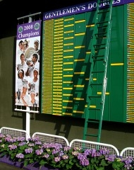 One of many scoreboards found on the grounds at Wimbledon