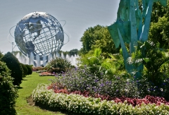 Unisphere and garden near the south entrance to the US Open