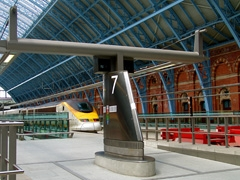 Newly opened St. Pancras terminal for the Eurostar. Nicest way to travel between the London and Paris. The terminal opened in 2007.