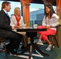 Bill Macatee and Martina Navratilova interviewing Ana Ivanovic for Tennis Channel