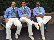 Umpires relaxing between matches