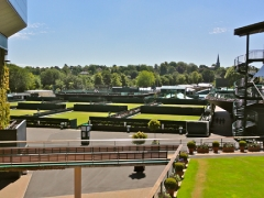 The view across the outside courts from the competitor's lawn